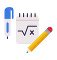 notebook pen and pencil school supplies vector image