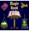 open magic book and set fairy tale elements vector image