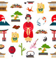 pattern with japanese symbols vector image