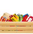 presents in wooden basket 02 vector image vector image
