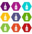 rum icon set color hexahedron vector image vector image