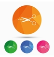 Scissors with cut line sign icon Tailor symbol vector image vector image