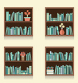 Set Of Wooden Bookshelves On Wall vector image vector image