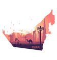 skyline of dubai with camel in the form of a map vector image vector image