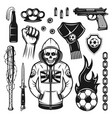 soccer hooligans attributes set of objects vector image vector image