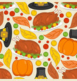 thanksgiving seamless pattern roasted turkey and vector image