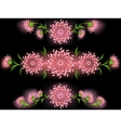 The pattern of pink flowers and leaves on a black vector image vector image