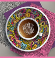 up of coffee and sale doodles on a saucer vector image vector image