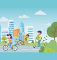 urban ecology parking bikes woman in bicycle man vector image