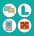 digital marketing media social communication vector image