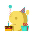 9 year greeting card birthday 9th anniversary vector image