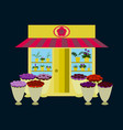 a flower shop with flowers outdoors and inside vector image
