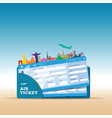 air ticket travel with icon vector image vector image