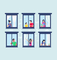 apartment building with people in open window vector image