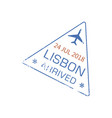 arrival visa stamp to lisbon airport isolated sign vector image vector image