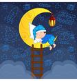 baby boy sleeping on moon among stars vector image vector image