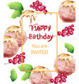 birthday card with ice cream watercolor sweet vector image vector image
