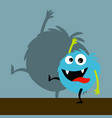 blue happy monster with shadow vector image vector image