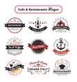 cafe and restaurant logos vintage design vector image vector image
