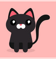 cartoon black cat sad emotion pink background vect vector image