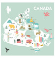 cartoon map of canada vector image vector image