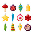 christmas tree decorations set realistic vector image