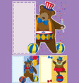 circus bears and border template vector image vector image