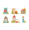 collection old stone buildings vector image vector image