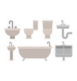 colorful set of bathroom interior objects with vector image vector image