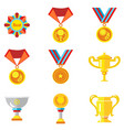 cups medals awards icons in a flat style on a vector image vector image