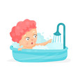 cute cartoon baby taking a shower bathing vector image vector image