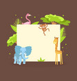 cute jungle animals with blank banner flamingo vector image vector image