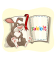 Cute rabbit and a book vector image vector image