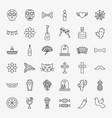 dia de los muertos line icons set vector image