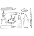 drawing and painting tools hand drawn sketch vector image vector image