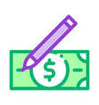 Drawing fake banknotes icon outline
