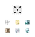 flat icon play set of backgammon jigsaw guess vector image vector image