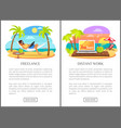 freelance and distant work advertisements set vector image vector image