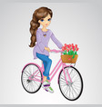 Girl Riding On Pink Bicycle vector image vector image