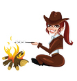 Girl-Scout-near-the-fire vector image vector image