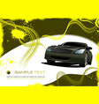 grunge abstract yellow background with green car vector image vector image