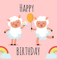 happy birthday greeting card with cute cartoon vector image vector image