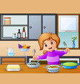 happy little girl holding spoon and fork eating at vector image vector image