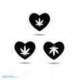 heart black icon love symbol the silhouette vector image