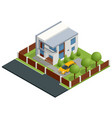 isometric apartment house building cottage vector image