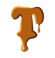 Letter T from caramel icon vector image