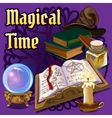 Magic set with old book candle and other elements vector image vector image