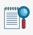 magnifying glass and notepad icon vector image