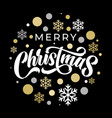 merry christmas calligraphy lettering on golden vector image vector image