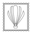 monochrome contour frame of hot air balloon vector image vector image